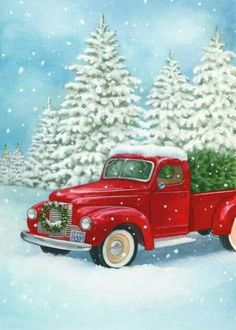 Old Truck With Christmas Tree Painting.Pinterest