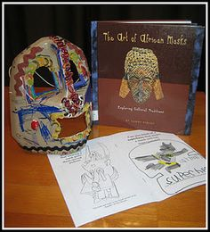 Turn a plastic milk jug into an 'African' mask. Free printable book available to help your child understand (and relate to) African masks. African Life, Sculpture Lessons, African Crafts, Africa Art, Thinking Day, Masks Art, Arts Ed, African Masks, Elementary Art