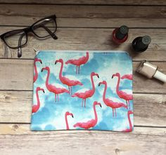 Flamingo Bag Flamingo Cosmetic Bag Flamingo Accessories Pink Flamingo Decor Summer Bag Kitschy Flamingo Bag Kitsch Bird Bag Flamingo Makeup by GaussHaus on Etsy