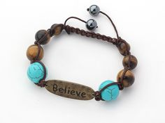 Brown Series Round Tiger Eye and Turquoise Graduated Adjustable Drawstring Bracelet