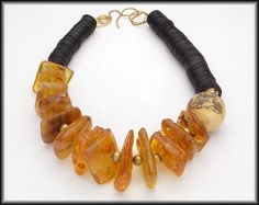 COLUMBIAN AMBER - Huge Amber Nuggets - Etched Bone Focal - African Coconut Shell Heishi Necklace