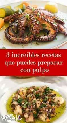 recetas para preparar pulpo | CocinaDelirante Octopus Recipes, Fish Recipes, Seafood Recipes, Mexican Food Recipes, Cooking Recipes, Healthy Recipes, Ethnic Recipes, Healthy Food, Pescado Recipe