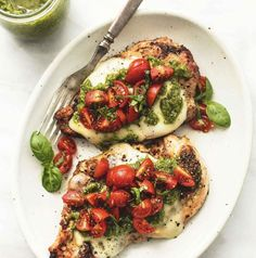 Grilled Chicken with Pesto and Mozzarella