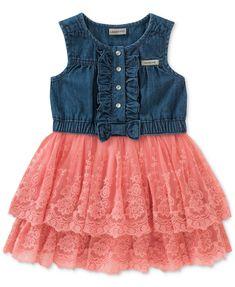 Calvin Klein Denim Tulle Dress, Little Girls - Denim/Pink 5 Frocks For Girls, Toddler Girl Dresses, Little Girl Dresses, Girls Dresses, Baby Dresses, Denim And Lace, Baby Girls, Toddler Girls, Infant Toddler
