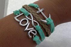 Pulsera verde menta---amor plateado antiguo, ancla de infinito, cute, pulsera trenzada de cuero verde menta---159