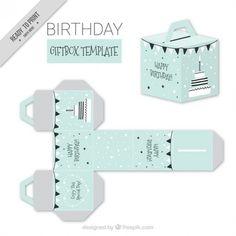 Blue birthday giftbox template