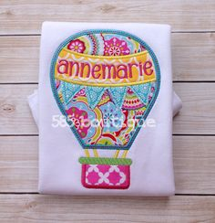 Items similar to Whimsical Hot Air Balloon - Appliqued and Monogrammed Shirt on Etsy Applique Monogram, Monogram Shirts, Panda Party, Toy Kitchen, Machine Embroidery Applique, Baby Bedding, Junk Drawer, Hot Air Balloon, Appliques