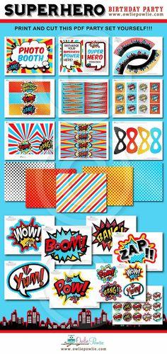 INSTANT DOWNLOAD Birthday Superhero Party Printable By OwliePowlie 2900 Diy