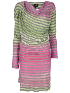 Multicolour dress from Vivienne Westwood Anglomania featuring horizontal stripes, draped neckline and long sleeves.