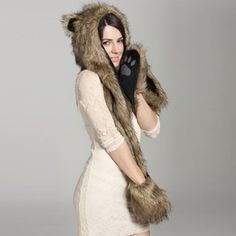 Hot Sale Warm Animal Beanies for Adults Fur Hat Scarf Fluffy Plush Cap Gorro Animal Hood Ear Hood Shawl Glove Animal Hat Warm Winter Hats, Winter Hats For Women, Hats For Men, Animal Fur, Animal Hats, Ear Cap, Hooded Scarf, Best Wear, Long Scarf