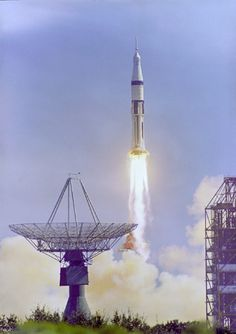 Space History Photo: The Apollo 7 Saturn IB space vehicle is launched from the Kennedy Space Center's Launch Complex 34 at 11:03 a.m. October 11, 1968.