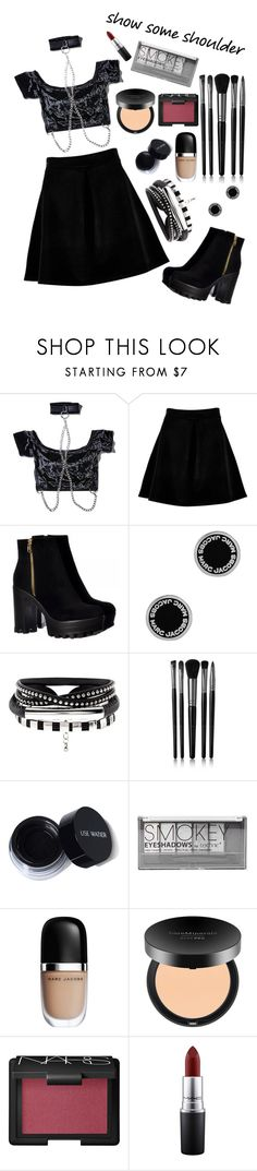 """Untitled #53"" by iheartevergreens on Polyvore featuring Current Mood, Boohoo, Marc Jacobs, Illamasqua, Bare Escentuals, NARS Cosmetics and MAC Cosmetics"