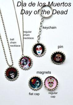 Dia de los Muertos Day of the Dead Keychains  / Bottle Cap Keychains  / Party Favors / 30 different designs!!!