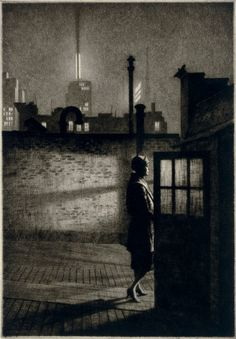 Martin Lewis, Little Penthouse, drypoint (United States of America, AD 1931) born and raised in Castlemaine, Australia. By 1900 he had emigrated to the United States of America, where he settled in New York and found work in commercial illustration. Following the success of his first solo exhibition in 1929, Lewis gave up commercial work to focus on printmaking.