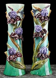 Pair of French Antique Majolica Art Nouveau Iris Vases