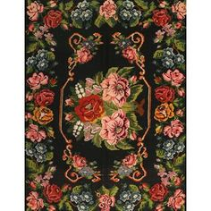 Bloomsbury Market Traditional Black/Blue/Red Area Rug Rug Size: Rectangle x Floral Area Rugs, Teal Area Rug, Navy Blue Area Rug, White Area Rug, Beige Area Rugs, Rugs On Carpet, Carpets, Colorful Rugs, Rug Size