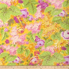 Kaffe Fassett Spring 2014 Collective Sun Lilac Yellow from @fabricdotcom  Designed by Philip Jacobs for Westminster Fabrics, this cotton print is perfect for quilting, apparel and home decor accents. Colors include purple, pink, green and yellow.