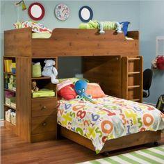 Amazon.com: South Shore Logik Twin Over Twin L-shaped Wood Loft Bunk Bed In Sunny Pine Finish: Furniture & Decor