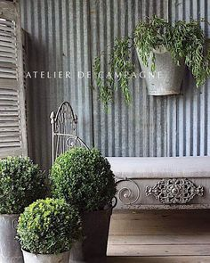 "44 Likes, 1 Comments - Atelier de Campagne (@atelierdecampagne) on Instagram: ""Zinc and boxwood, a great match. #buxus #boxwood #zinc #frenchcountry #countrystyle #daybed…"""