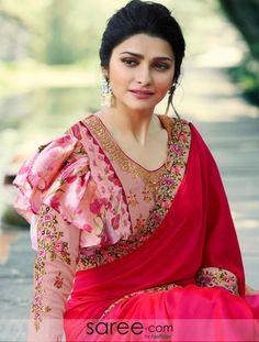 Prachi Desai Rani Pink Satin Silk Plain Saree With Designer Blouse Indian Blouse Designs, Fancy Blouse Designs, Saree Blouse Patterns, Saree Blouse Designs, Blouse Styles, Kurta Designs, Choli Designs, Sleeve Designs, Frill Blouse