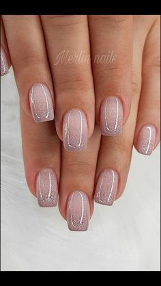 142 top class bridal nail art design for spring inspiration Page 33 - Nageldesign - Nail Art - Nagellack - Nail Polish - Nailart - Nails - Glitter Gel Nails, Acrylic Nails, Coffin Nails, Glitter French Manicure, Stiletto Nails, Glitter Ombre Nails, White Sparkle Nails, Sparkly Nails, Rose Gold Nails