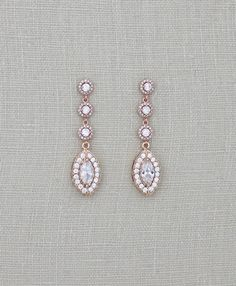 Buy Now Rose Gold Bridal earrings Crystal Wedding earrings. Gold Bridal Earrings, Bridesmaid Earrings, Wedding Earrings, Bridal Jewelry, Unique Jewelry, Jewelry Ideas, Cubic Zirconia Earrings, Dangle Earrings, Bridal Jewellery Inspiration