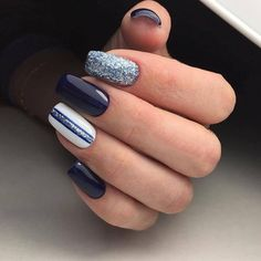 Are you looking for hot manicure nails design? Mainstream social apps will give you the right answer. The manicure nail design that most people pursue will not go wrong, isn't it? Manicure Nail Designs, Toe Nail Designs, Nail Manicure, Nails Design, Silver Nails, Blue Nails, Hair And Nails, My Nails, Elegant Nails
