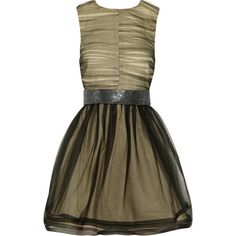 Alice + Olivia Heidi crystal belt ruched-tulle dress ($205) ❤ liked on Polyvore