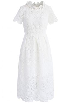 Floral Holiday Crochet Dress in White- New Arrivals - Retro, Indie and Unique Fashion
