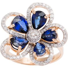 In the shape of a beautiful flower, this gorgeous ring features sparkling white diamonds wrapped around the bold blue sapphire gemstones. Crafted of 14k rose gold, this ring showcases beautiful colors and a polished finish for even more style.