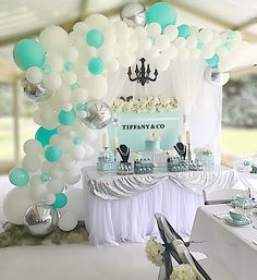 Tiffany & Co backdrop and balloon garland/white tulle/dessert table/party styling - Stylish Soirees Perth