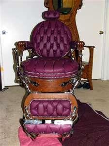 Circa 1880's Koken Barber Chair. Round seat,