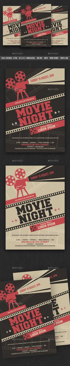Movie Night / Movie Time Flyer - #Clubs & #Parties #Events Download here: https://graphicriver.net/item/movie-night-movie-time-flyer/19780577?ref=alena994
