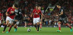 Henrikh Mkhitaryan of Manchester United in action with Jose Fonte of Southampton…