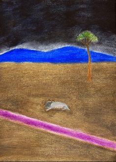 Craigie Aitchison: Ram in a Landscape by Craigie Aitchison British Artists, Landscape, Painting, Color, Places, Colour, Lugares, Painting Art, Landscape Paintings