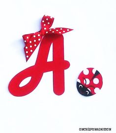 Cursive Letter And Ladybug...Fabric Iron On Appliques... Ribbon Included...Choose From 2 Ribbon Designs on Etsy, $3.50