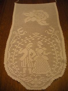 Beautiful Vintage Filet Crochet Rose and by WhereTheRoosterCrows, $15.00