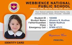 School ID Card - Horizontal ID Card Design - Student ID Card Template by Webbience, Coimbatore