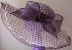 Kentucky Derby hat in layered plum and polkadot by daisyhere...I've always loved big beautiful hats...which they were commonly still worn in the US