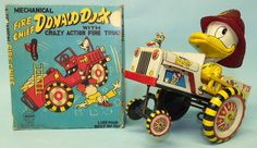 VINTAGE LINEMAR FIRE CHIEF DONALD DUCK w/CRAZY FIRE TRUCK TIN WINDUP TOY & BOX | Toys of Times Past