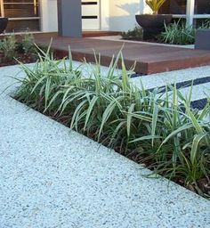 honed exposed aggregate concrete outdoors - Side and rear. Exposed Aggregate Driveway, Concrete Driveways, Concrete Patio, Concrete Floor, Walkways, Concrete Stone, Exposed Concrete, Honed Concrete, House Front
