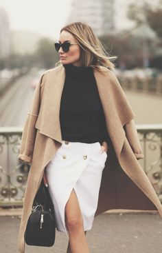 #fall #fashion / camel coat + black & white