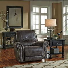 Flash Furniture Benchcraft Breville Rocker Recliner in Charcoal Faux Leather *** Learn more by visiting the image link. (This is an affiliate link) #LivingRoomFurniture