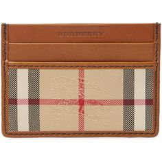 Burberry Men's Horseferry Check Card Case - Cream/Tan (225 CAD) ❤ liked on Polyvore featuring men's fashion, men's bags, men's wallets, mens wallets, mens card case wallet, burberry mens wallet and mens card holder wallet
