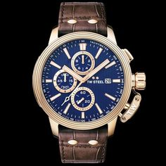 TW STEEL CEO ADESSO 48MM ROSE GOLD CHRONO BROWN LEATHER WATCH