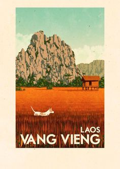 'Travel Posters - Vang Vieng Laos' Poster by Rui Ricardo Laos, Vietnam, Tourism Poster, Retro Poster, Japanese Graphic Design, Vintage Travel Posters, Grafik Design, Vintage Art, Vintage Graphic