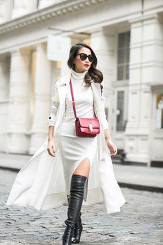 Coat :: Marissa Webb Dress :: Rachel Pally (similar here) Bag :: Celine Shoes :: Jimmy Choo (similar here) Accessories :: Karen Walker sunglasses, Stila 'Fiery' lip color, Lulu Frost rings