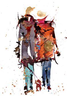 """Peinture illustration aquarelle pour décoration murale """"nous"""""""