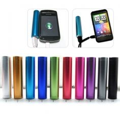 Fun colors! 2200mAh Power Bank External Battery Charger for iPod Mp3 Mobile Cell Phone - stocking stuffer!