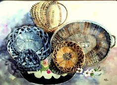 Watercolor Baskets Collage Original 22 x 30 Painting With Designer Matting,  by Donna Allen